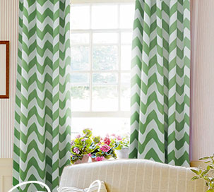 Geometric Curtains Drapes Lined-Rod Pocket-132L x 52W