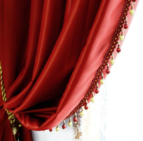 Red Faux Silk Taffeta  Blackout Curtains Panel Grommet Top-(54W X 104L)