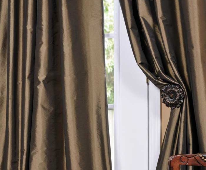 132 Inches Faux Silk Blackout Curtains