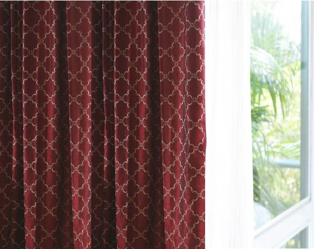 Geometric Textured Faux Silk Curtain panels Lined 96 Inch