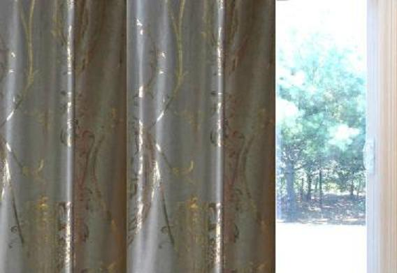 Beautiful Taupe Like Sateen /Gold Metallic Foil Floral Pinch Pleat Blackout Patio  Blackout 100W X 84L