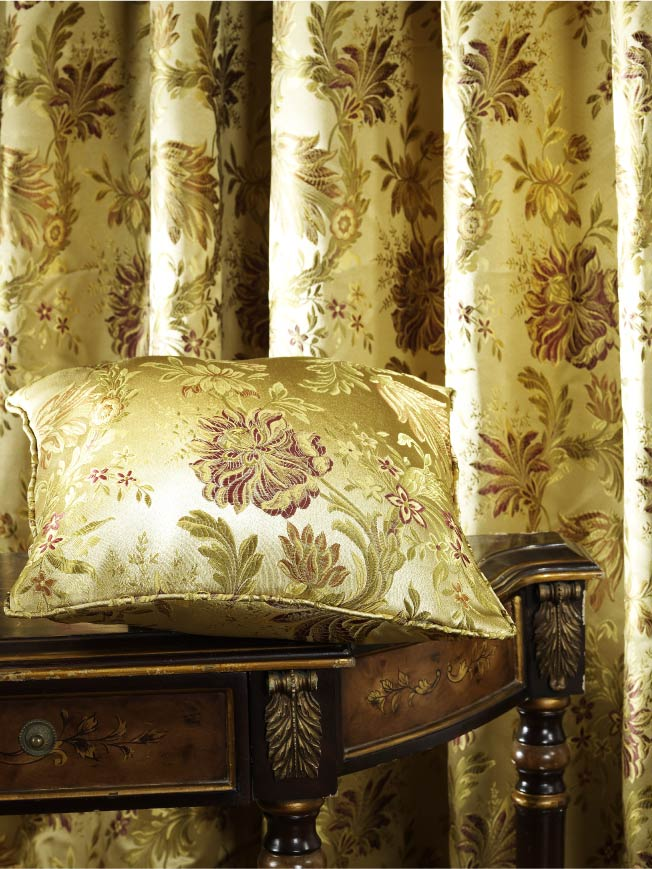 Jacquard Damask Vine Drapes and Curtains