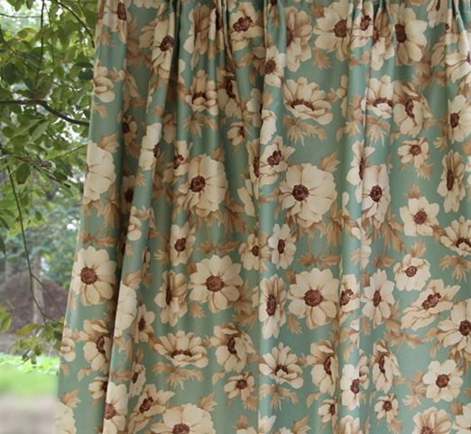 Blackout Sunflower Floral Sateen Curtain Panel -Rod Pocket