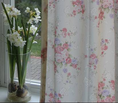 Cream Curtains /Vintage Blossom Damask Panel Patterned  Curtain