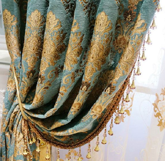 Turquoise Damask Curtains Drapes-132L