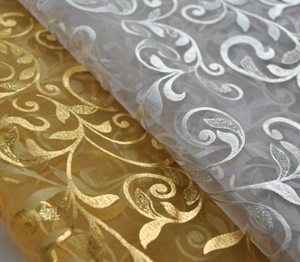 Metallic Floral Organza Sheer 6 Yards Scarf Valance