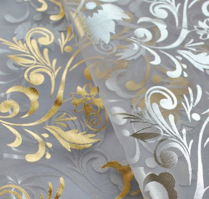 Metallic Embroidered Sheer 6-yard Scarf Valance-Gold & Silver