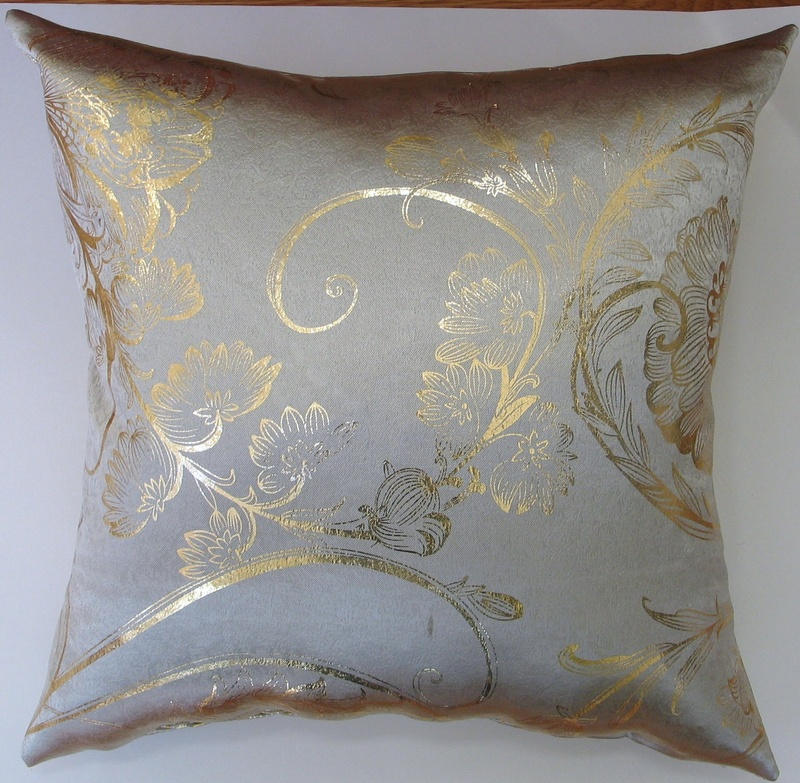 Taupe like Sateen/ Gold Metallic Foil Floral Decorative Pillow Covers