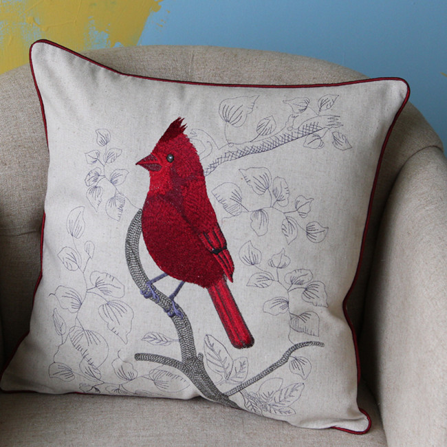 Red Bird Decorative Pillow Covers- 18 x18
