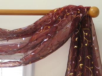 Floral vine brushes Metallic Sheer 6-yard Scarf Valance (Item # SF416-68-6)