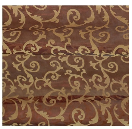 Red Wine Scroll Flocking Sheer 6-yard Scarf Valance