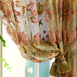 Floral Champagne  Embroidered Organza 96-inch Sheer Curtain