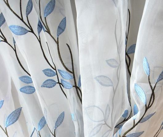 Branch Embroidered Organza Sheer Curtains & Panels