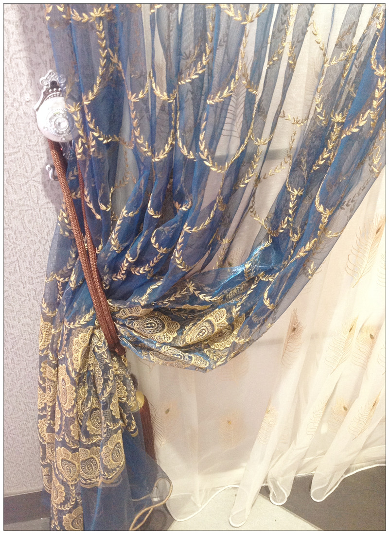 Embroidery Sheer curtain-Peacock Organza Sheer Curtains Panel