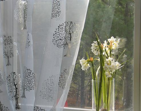 curtains chic floral patterned p sheer gauze gray