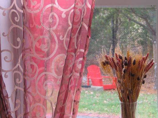 Scroll Embroidered Organza Sheer Curtains & Panels