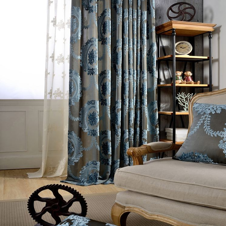 Floral Burnout Velvet Curtains-108L