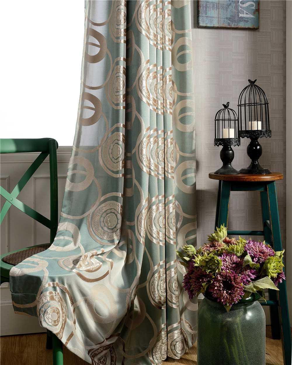 Overlap Burnout Velvet Curtains -132 inch