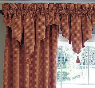 Ascot  Shaped Valance with Tassels Red Window Coverings