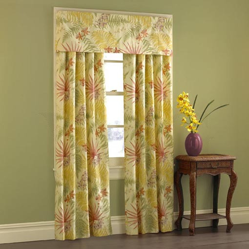 Cotton Sunflower Floral Valance Curtain -Rod Pocket