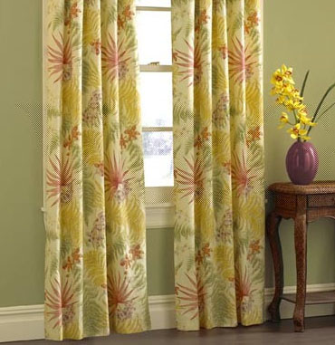 Cotton Sunflower Floral Curtain(108W Per Pair)
