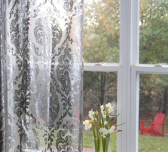 Silver Metallic Foil Damask Embroidered Organza Rod Pocket Sheers Curtains