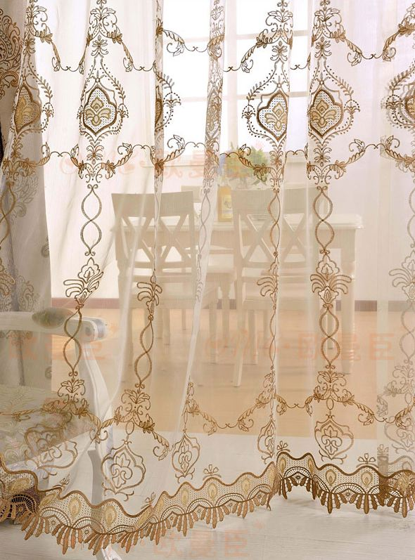 Damask Sheer Curtain Rod Pocket Curtains