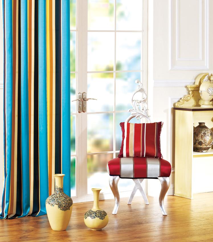 Blue Silk Satin Stripe Blackout Curtains & Drapes-132L
